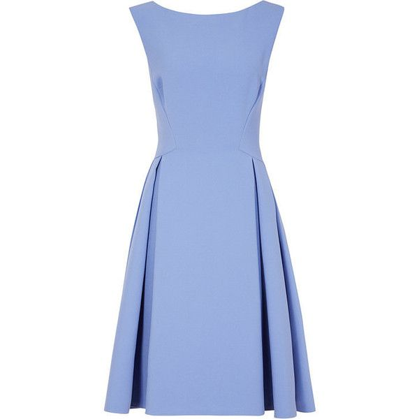 LOW-BACK FIT AND FLARE DRESS (820 BRL) ❤ liked on Polyvore featuring dresses, low back dress, deep v back dress, fit flare dress, blue fit-and-flare dresses and plunging back dress
