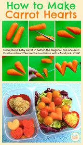 How to make heart carrots. Lunchbox idea