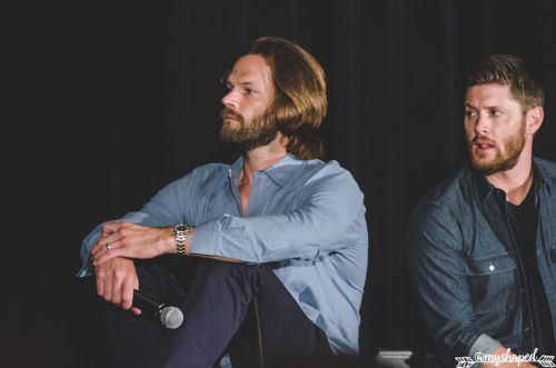 "grumpyjackles: "" intense concentration on this fan's question Jared Padalecki & Jensen Ackles - Main Panel - Salute to Supernatural Phoenix 2016 photo by me. if using - credit @amyshaped or..."