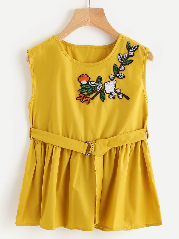 Shop Embroidered Appliques Sleeveless Smock Top With Ring Belt online. SheIn offers Embroidered Appliques Sleeveless Smock Top With Ring Belt & more to fit your fashionable needs.