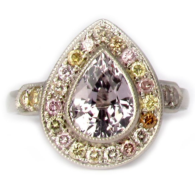 Anjon Mandala Ring   14k white gold engagement ring with grey pear shaped sapphire and natural coloured diamonds      $4600