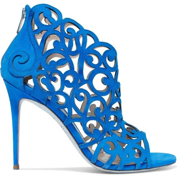 RENE' CAOVILLA   Laser-cut suede sandals ($595) ❤ liked on Polyvore featuring shoes, sandals, royal blue high heel shoes, royal blue high heel sandals, royal blue shoes, rene caovilla sandals and royal blue sandals