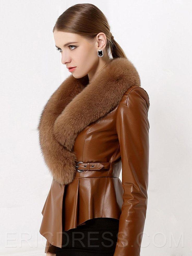 Ericdress Irregular Hem Faux Fur Collar Coat 2
