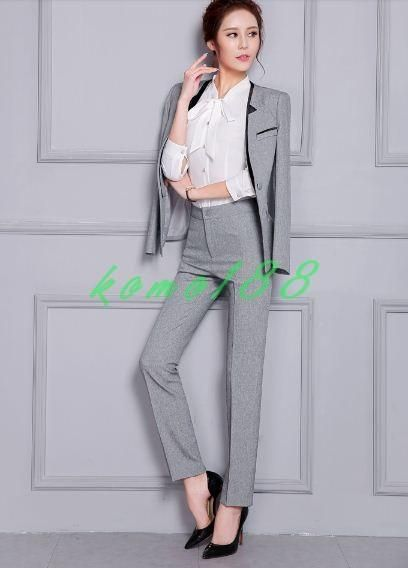 Womens Slim Fit Suits Formal Blazers Coat Pants Black Gray Office Lady
