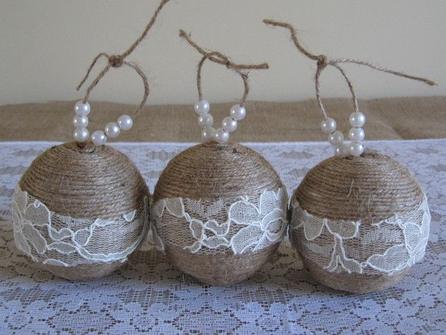 Rustic Twine Christmas Ornament Set - decorated with ivory lace and faux pearls