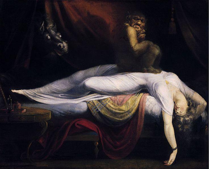 John Henry Fuseli - La pesadilla. 1781. Son muchos los críticos que la han identificado con la escenificación de un sueño erótico, pero también puede entenderse como el miedo a lo desconocido y el ocaso del reinado de la razón, la ruptura del paradigma del clasicismo.