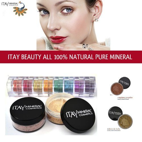 Itay 100% Mineral Foundation MF5 'Dulce De Leche' + 8-stack 100% Mineral Eyeshadow 'Carribean Samba' + * * ITAY 100% Mineral Blush MB6 'Raspberry Smoothie'. Dulce De Leche' Foundation 9gr MF5 + 'Carribean Samba' 8-stack Eyeshadow 8x1.75gr + * * Full-Size 9gr Blush MB6 'Raspberry Smoothie'. ITAY 100% Mineral Foundation is also water-resistant, so it will last you all day and night. Eyeshadows can also be applied to Lips, Face, and Hair to create strikingly divine and natural beauty!....