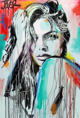 IN SPIRIT by Loui Jover. I love the way that Jover uses colour drips to create movement within the piece. The simplistic style in which the tones are created in ink is a very effective technique.