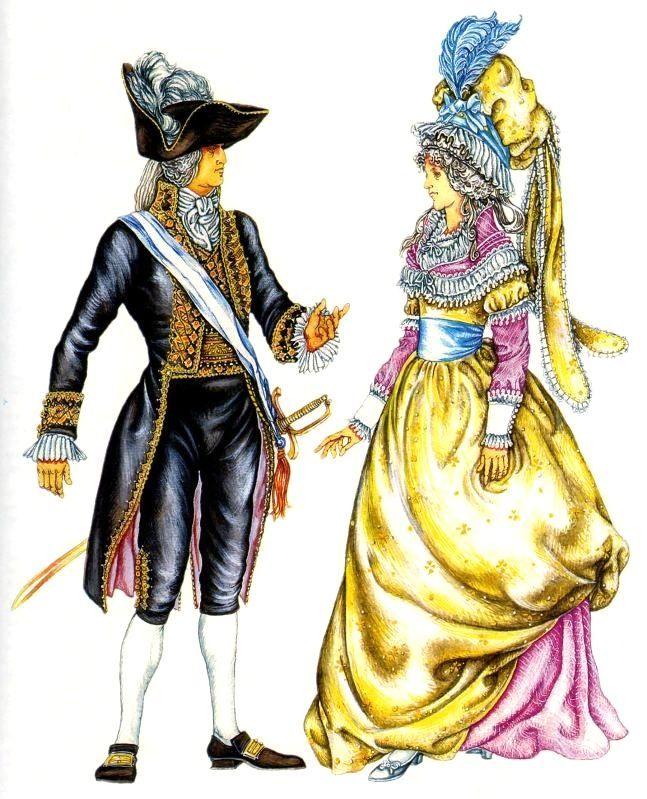 Франция начало 19 века. на мужчине: парадный фрачный костюм на женщине: двойное платье и чепец на проволочном каркасе