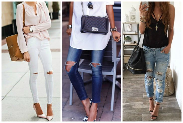 Outfits for apple shape body. White skinny jeans, blue ripped jeans. Pink blouse, white shirt and black top. Learn how to dress your apple shape body >>> http://justbestylish.com/how-to-dress-the-apple-figure/2/