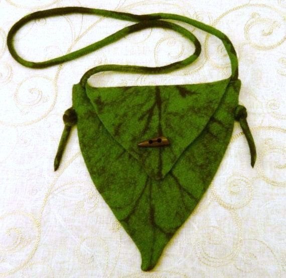 Green Leaf Bag Tree Elf Fairy Hand Felted Textile Fabric Autumn Nature