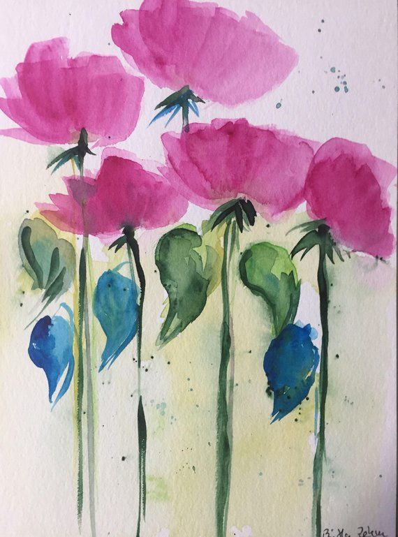 Original Aquarell Aquarellmalerei Bild Kunst Wiesenblumen Abstrakt