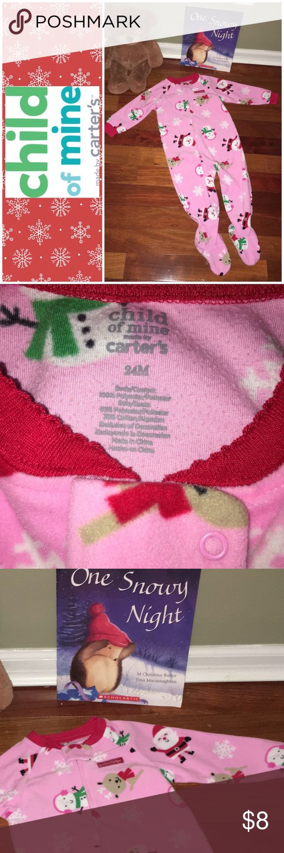 Carter's Child of Mine Blanket Sleeper Pajamas Adorable Carter's Child of Mine Fleece Footie PJs Christmas 🎄🎅🏻🥁☃️  🎉Bundle with the other Blanket Sleepers and super adorable Santa outfit listed separately and save. 🎉  We are a smoke free hypoallergenic pet friendly home we have a Morkie. Pajamas
