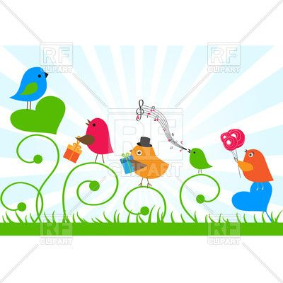 Birthday card - birds send greetings to a friend, 22027, download royalty-free vector clipart (EPS)