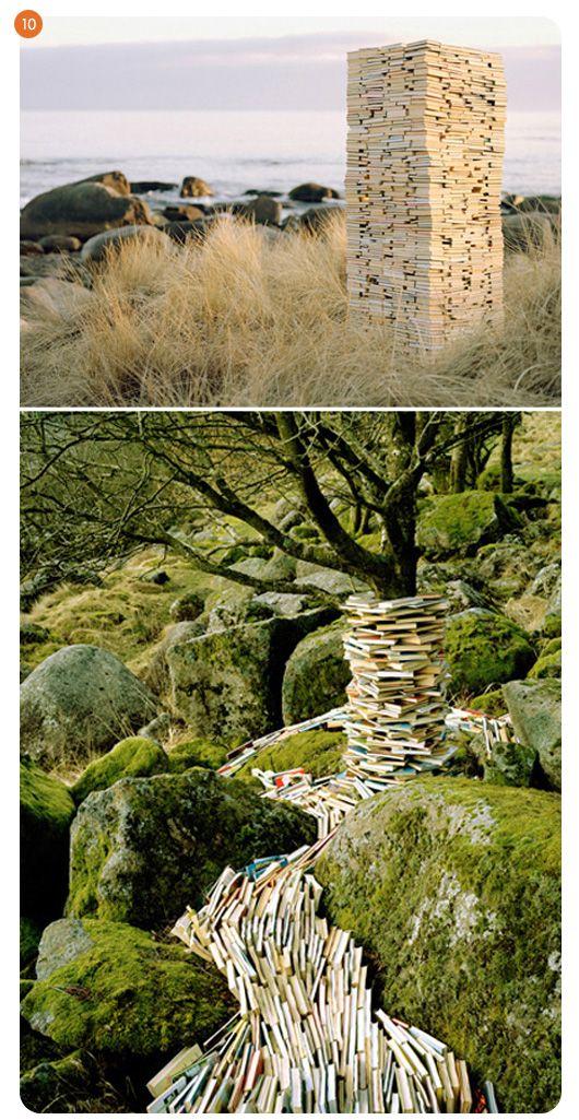 pillar and stream of books. : Common Knowledge, Books, Book Art, Runeguneriussen, Waterfall, Runes, Rivers, Land Art