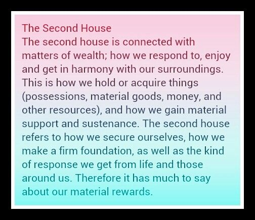 The second house in your natal or birth chart.