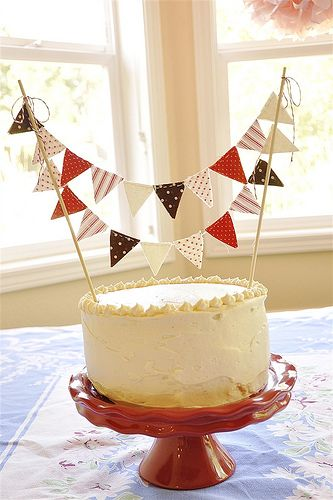 Cake bunting. @Donna Young Emma is considering making and selling bunting. She could make these cake toppers for you, they are too cute!