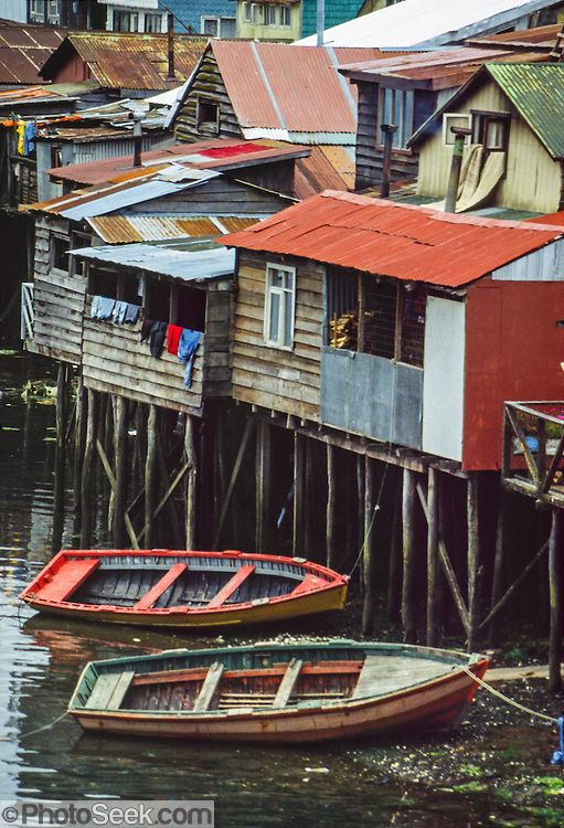Fishermen's traditional wood houses (palafitos) rise on stilts in Castro on Chiloé Island, in Los Lagos Region, Chile