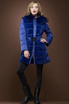 Guy LaRoche  Blue Rex-Rabbit and Fox Fur Mid-Length Down Coat