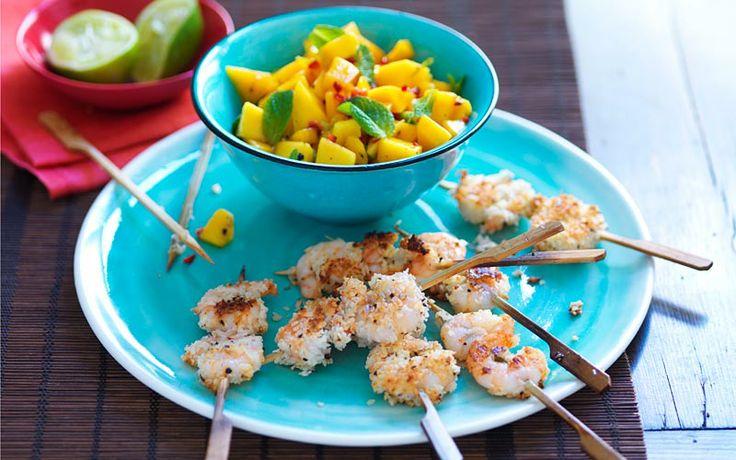 Coconut prawns with salsa