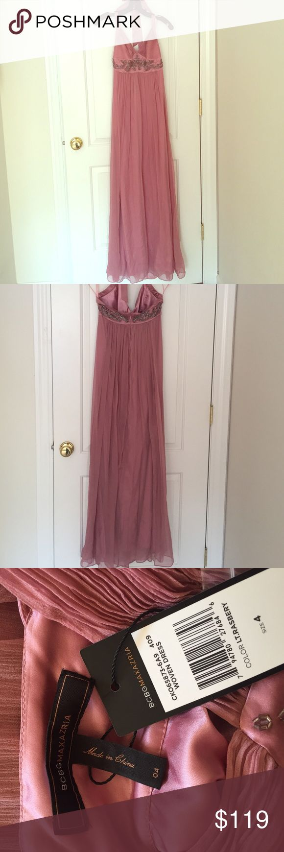 BCBG beaded silk halter maxi dress NWT Silk dress, polyester lining. Perfect for prom or an evening event. BCBGMaxAzria Dresses