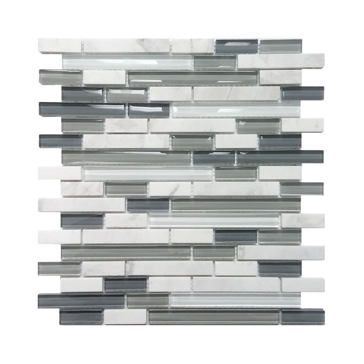 Avenzo 5 8 In Arctic Strip White Gray Stone Glass Wall