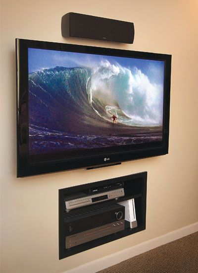 Wall-mounted TV with built in wall storage