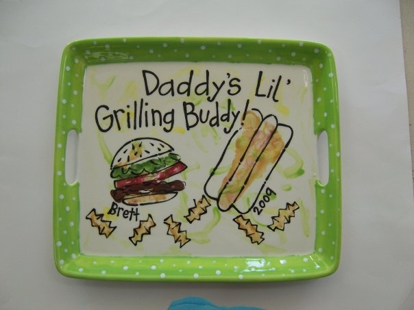 Grilling platter! Painted PlatesCeramic PlatesPainted CeramicsHand Painted Handprint ... & 143 best Fatheru0027s Day Pottery Ideas for Dad u0026 Grandpa images on ...