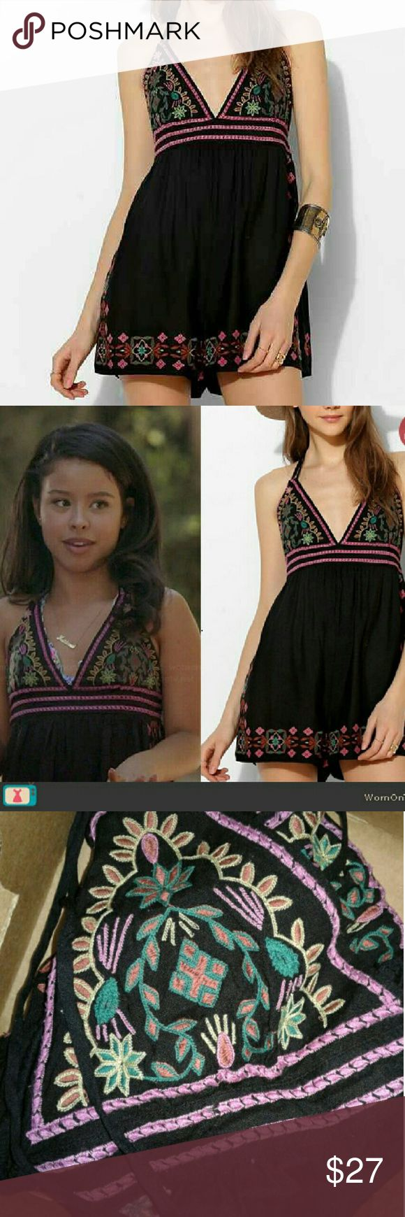"""Urban Outfitters Embroidered Romper / Ecote i actually bought it from someone else on here ,and it ended up being too big cuz im a size small and its a size medium , so thats why im selling it , it was listed as """"Like New"""" when i bought it , i havent worn it only tried on , ill still wash before sending it out , it was originally $89 (: Mariana from the show The Fosters actually wore the exact same one as u can see in pic 2 , the episode """"Mother Nature"""" she wore it in , if u wanted to get a…"""