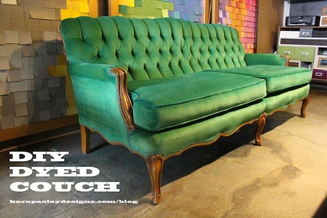 DIY Dyed Couch- Apple To Emerald...dye, heat, and scotch guard!!!!!!!!