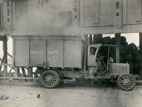 Motorized Health Department garbage truck, circa 1920