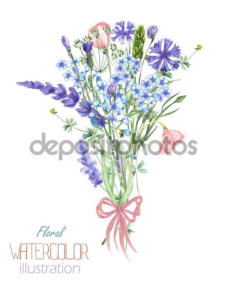Иллюстрация с букет красивых акварель синий Myosotis цветка, васильками и цветки лаванды, изолированные, рисованной в акварели на белом фоне