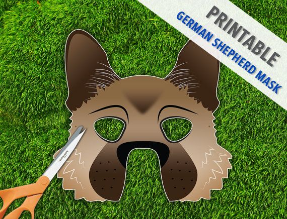 German Shepherd Mask  Malinois Dog Mask  Printable by theRasilisk, $4.99
