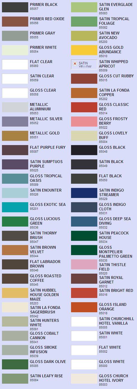 Valspar Enamel Spray Paint Color Chart Paint Colors Pinterest