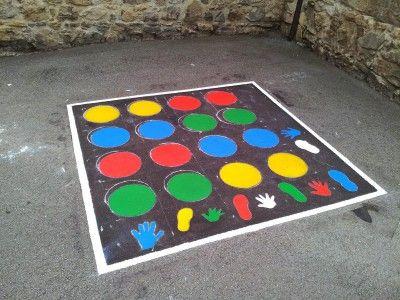 Dibujaremos este twistter en el patio del colegio y con el aprenderán los colores y las partes del cuerpo.