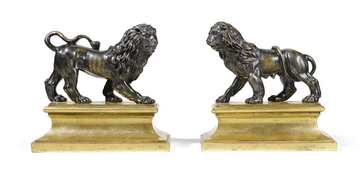 ITALIAN, LATE 17TH/ EARLY 18THCENTURY bronze, on ormolu bases  each overall: 16 by 17cm., 6¼ by 6¾in.    LION AND LIONESS