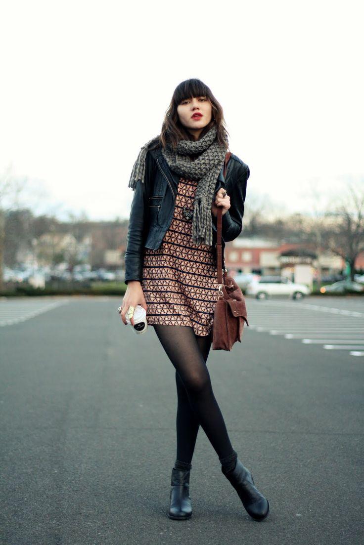 printed dress, motorcycle jacket, scarf, tights, booties