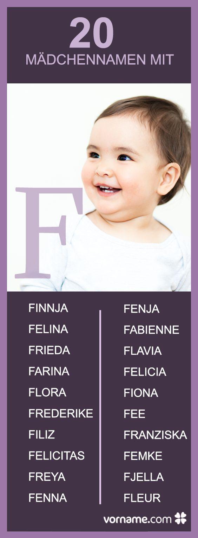 Dir gefallen die Namen Frieda und FINA? Hier findest Du noch mehr Mädchennamen, die mit einem F beginnen.