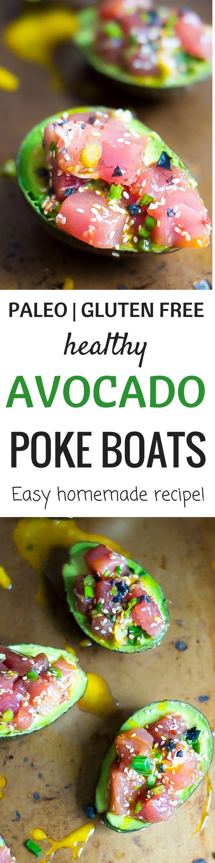 Paleo poke recipe. Paleo avocado boats recipe. Ahi poke avocado recipe. Easy ahi poke recipe. Healthy ahi poke recipe. Homemade poke bowl recipe that's delicious and easy!