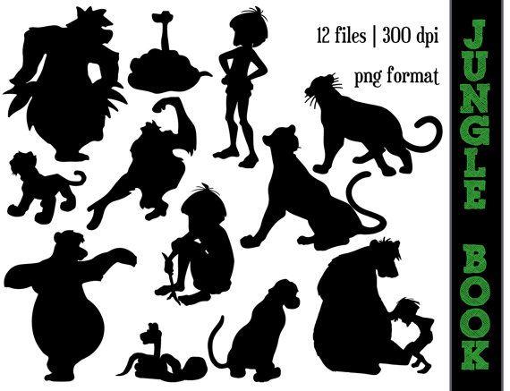 The Jungle Book Silhouettes // Baloo, Kaa, Mowgli, Shere, King Louie, Bagheera Silhouette // Disney Clipart // Jungle Book Silhouettes