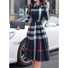 Plaid Long Sleeves A-line Knee Length Elegant Dresses (199242662) – Dresses – #2…