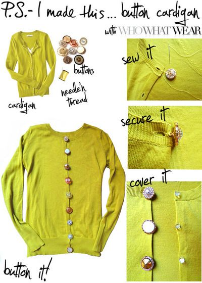 DIY Buttons Down the Back of a Cardigan (Alternatives: Pearls, on a dress, etc.) (psimadethis)