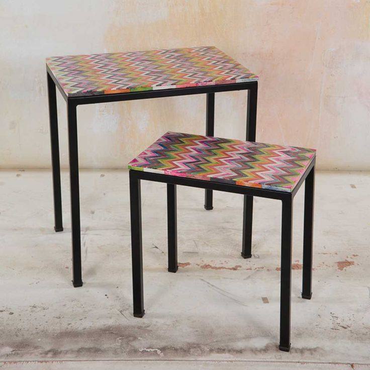 Furniture - Set of Two Bone Inlay Side Tables - Hutsly