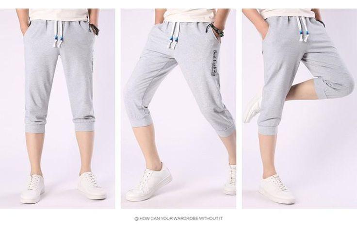 Hot Sale!! Summer Fashion Casual Loose Mens Cropped Short Pants Sweatpants Jogger Shorts Men - 10 minus