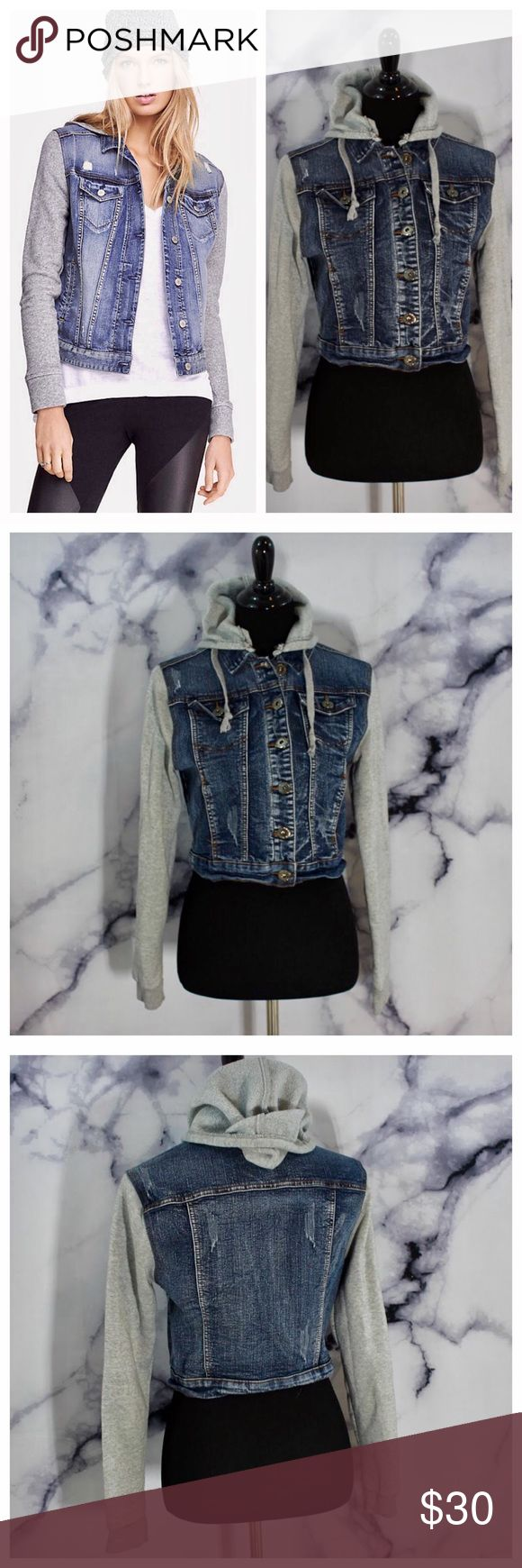 Distressed Sweatshirt Jean Jacket Hoodie Sweatshirt Jean jacket duo. Jacket has detachable hood option. Super cute and very comfortable! Size L Yuma Modern Princess Jackets & Coats Jean Jackets