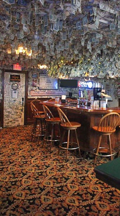 Cool bar alert: the Moby Dick Pub within the Bayside Resort Hotel near Cape Cod, Massachusetts. Patrons write messages on dollar bills, which then hang from the ceiling to create an eye-catching art display.