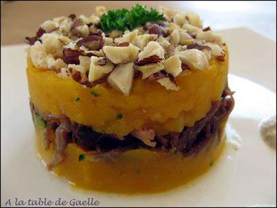 Parmentier de canard au potimarron, croquant à la noisette et sa crème de champignons - les meilleures recettes de cuisine d'Ôdélices