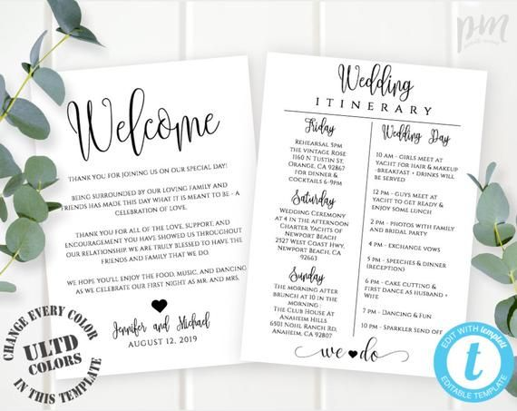 Wedding Itinerary Template Download Printable Wedding Etsy Wedding Itinerary Template Wedding Itinerary Printable Wedding Program Template