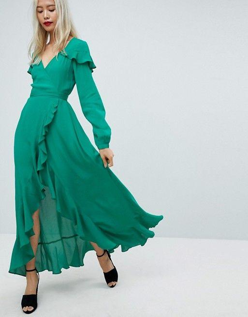 Long Sleeve Ruffle Wrap Maxi Tea Dress in 2019  8863a4ad911b