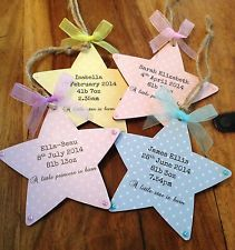 Personalised Wooden Star Plaque New Baby Boy Girl Birth Announcment Gift